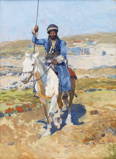 Рубо. Всадник на белой лошади
