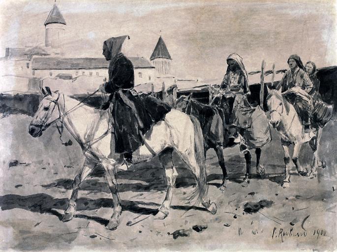 Рубо. Горцы на фоне монастыря