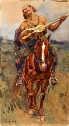 Рубо. Всадник с гитарой на лошади